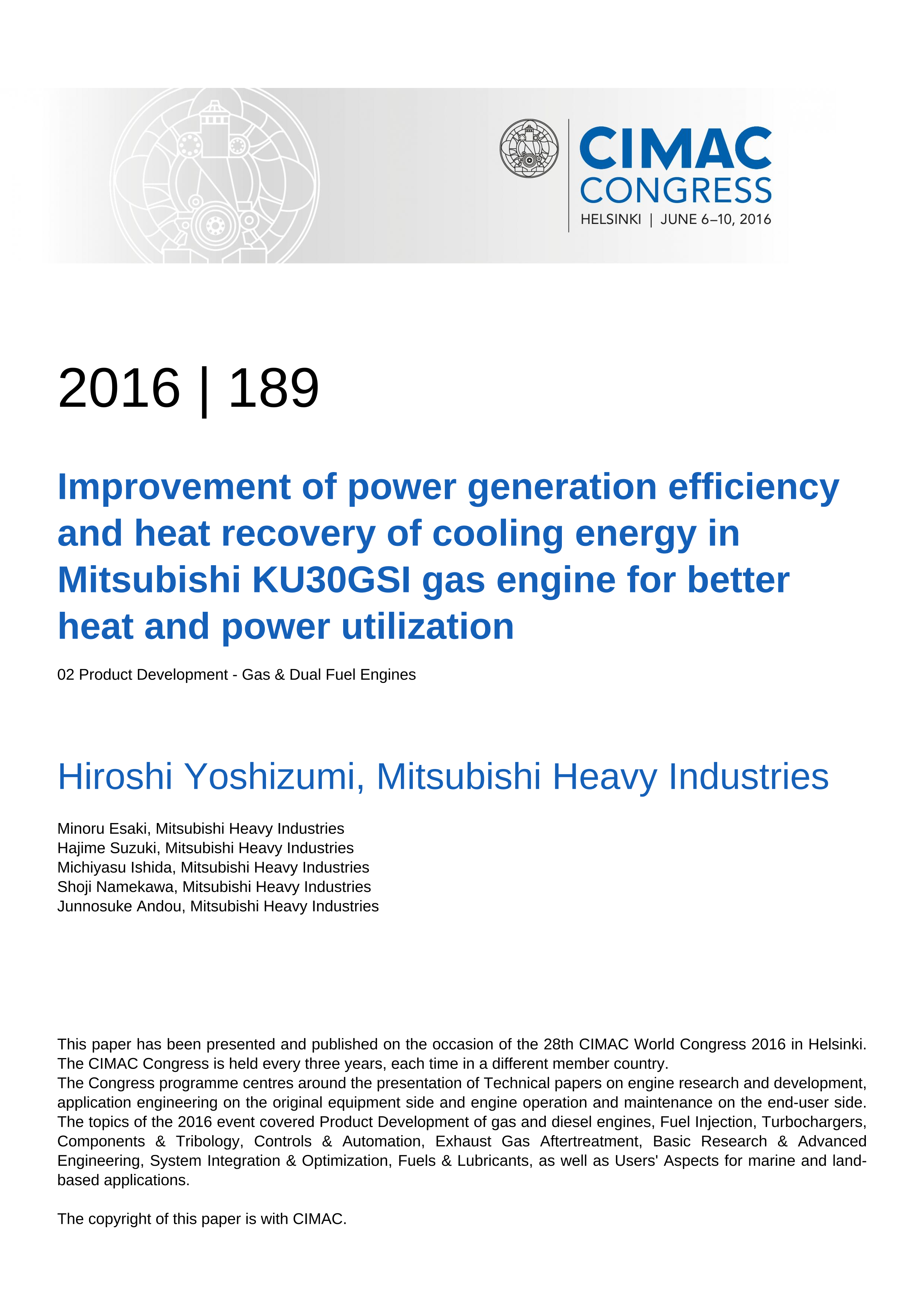 Improvement of power generation efficiency and heat recovery of